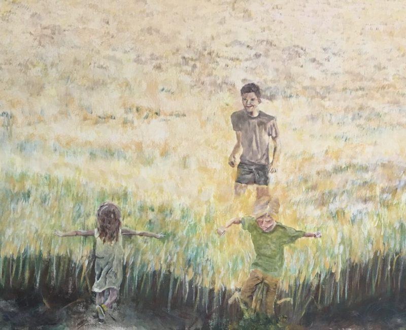 Spelen in het graan